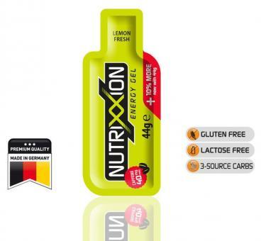NUTRIXXION EnergieGel, Lemon-Fresh, 44 g, (mit Koffein),