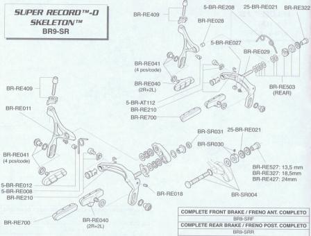 CAMPAGNOLO Muttern u. U.-Scheiben für HR-Bremse