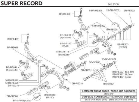 CAMPAGNOLO SUPER RECORD 2015  Bremsschuhe, schwarz, Satz