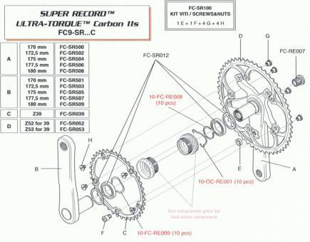 CAMPAGNOLO SUPER RECORD  Kurbelschraube für Titan-Kurbe